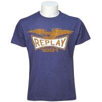 Replay  Angebote –  Replay T-Shirt Print blau  gerade als Outdoor – Schnäppchen für Sparer