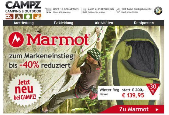 Marmot, jetzt bei CAMPZ!  Zum Markeneinstieg bis zu 40 % reduziert