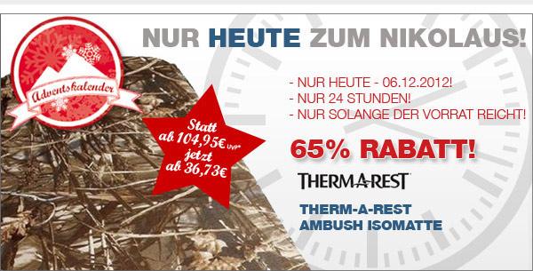 Therm-a-Rest Ambush – Nur heute 65% Rabatt auf die Therm-a-Rest Isomatte!